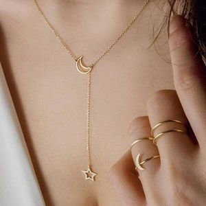 Jewelry - GOLD_ Goodnight Moon Choker Drop Necklace